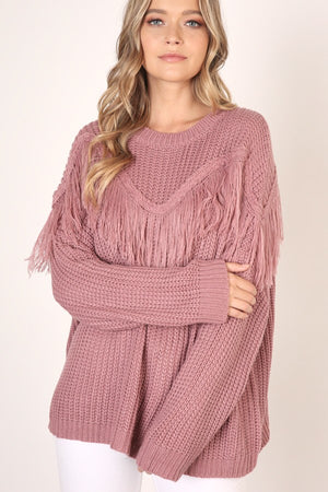 Fringe Detail Sweater - MAUVE - Jane & Kate