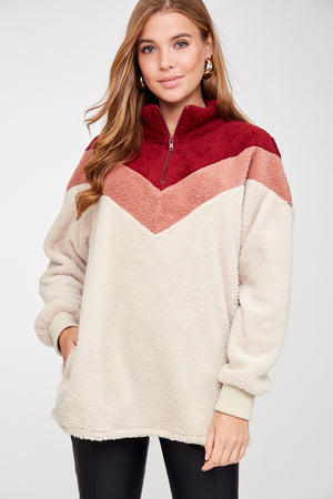 Color Block Sherpa - CRANBERRY - Jane & Kate