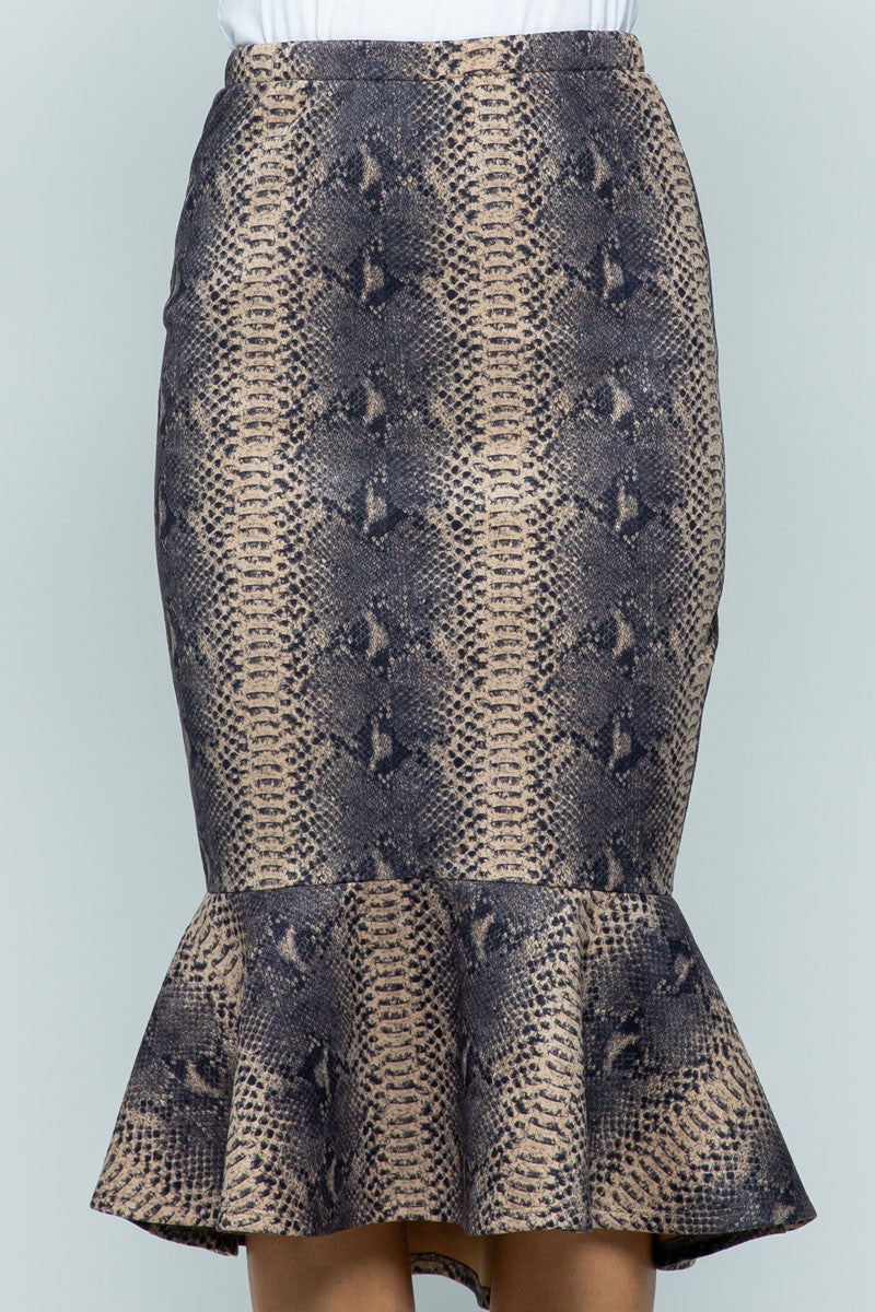 *FINAL SALE* Snakeskin Mermaid Flare Skirt