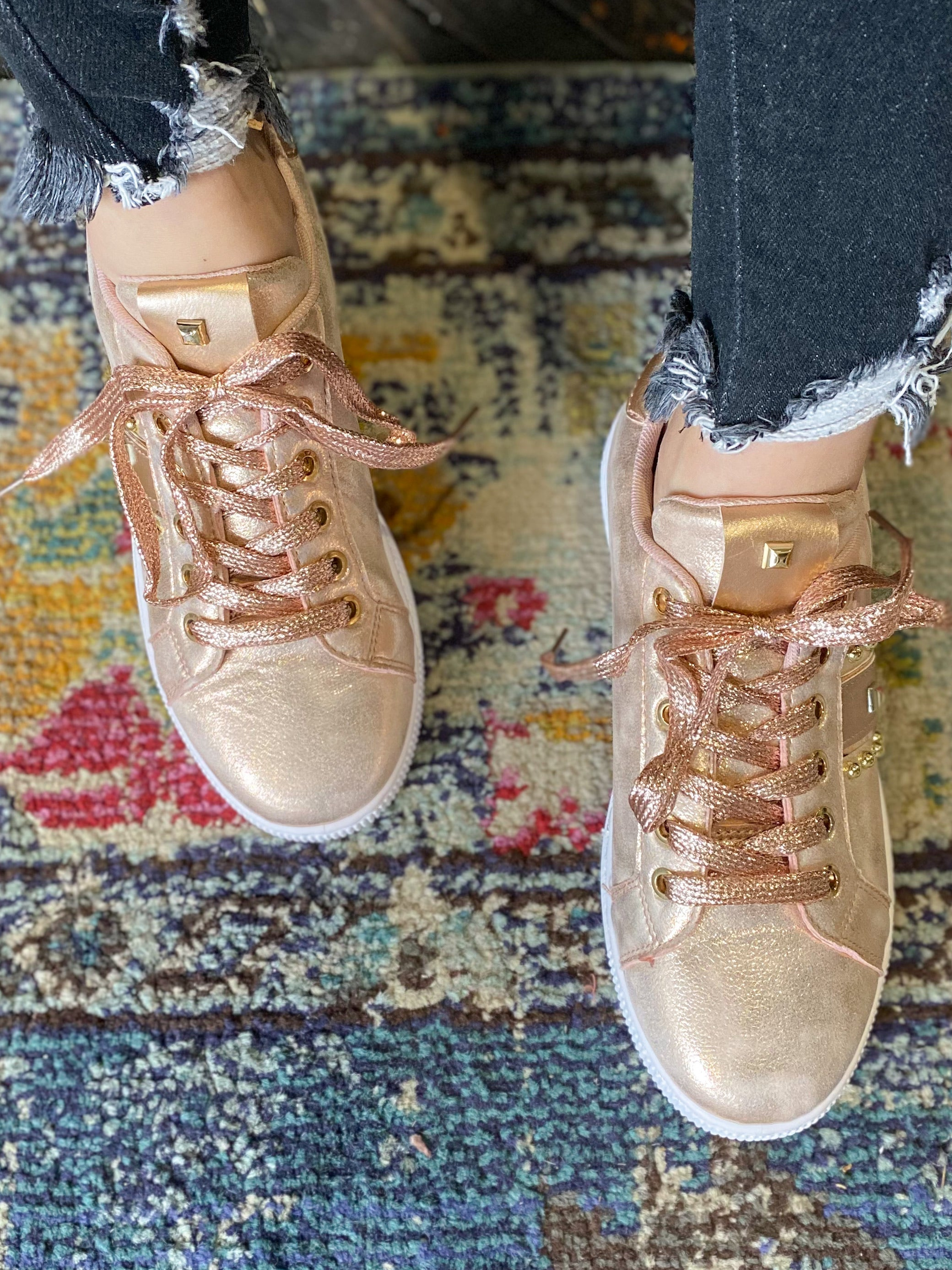 *FINAL SALE* The Rose Gold Star Studded Sneakers