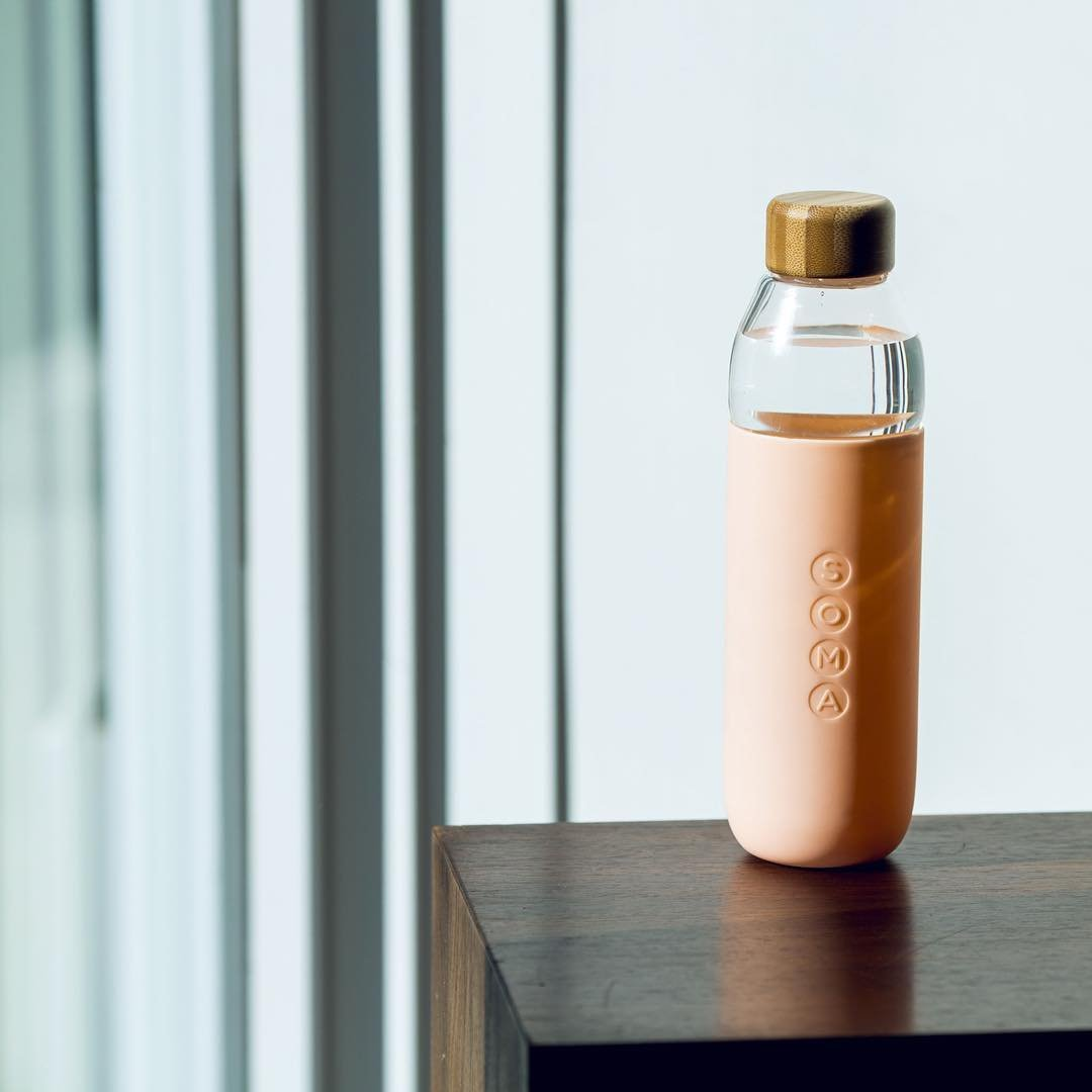 Soma 17 oz. BPA-free Wide Mouth Glass Water Bottle with Silicone Sleeve