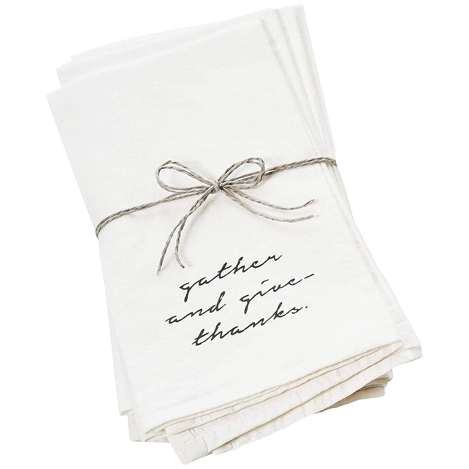 Face to Face Home- Cotton White Dinner Napkins Gather and Give Thanks Set of Four