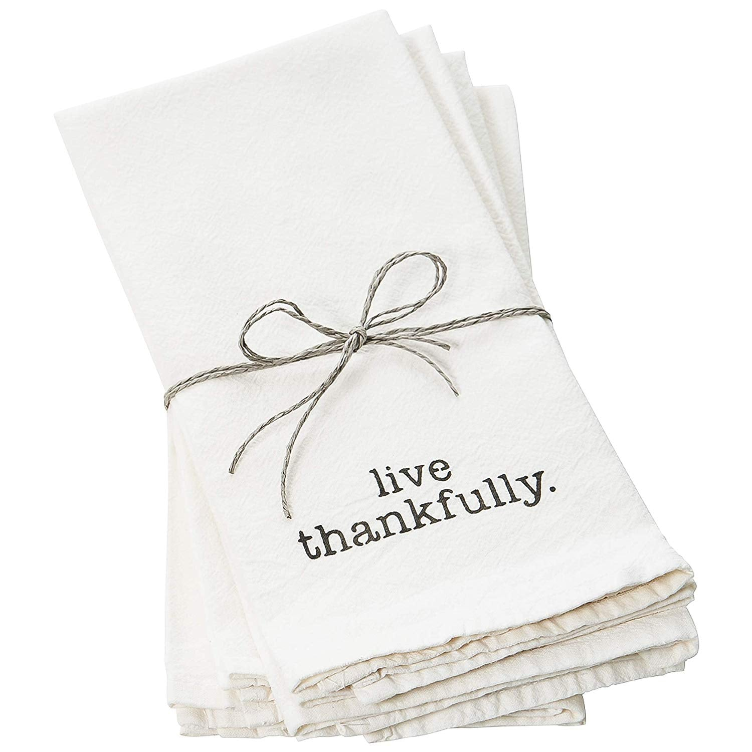 Face to Face Home- Cotton White Dinner Napkins Live Thankfully Set of Four