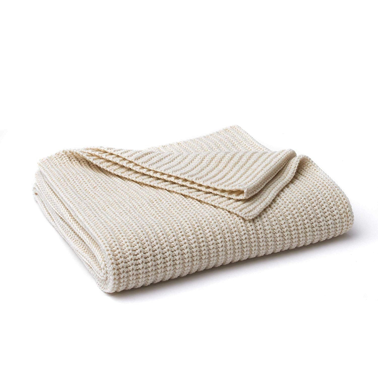 Vellux Chunky Knit Ivory/Gold Metallic Throw Blanket