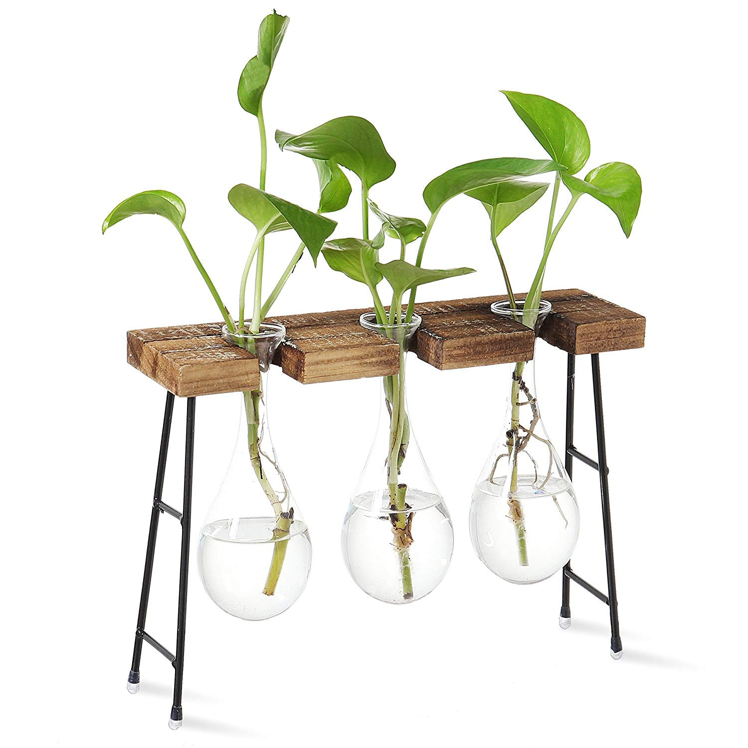 3-Glass Boiling Flask-Style Flower Vases with Rustic Wood & Metal Tabletop Stand
