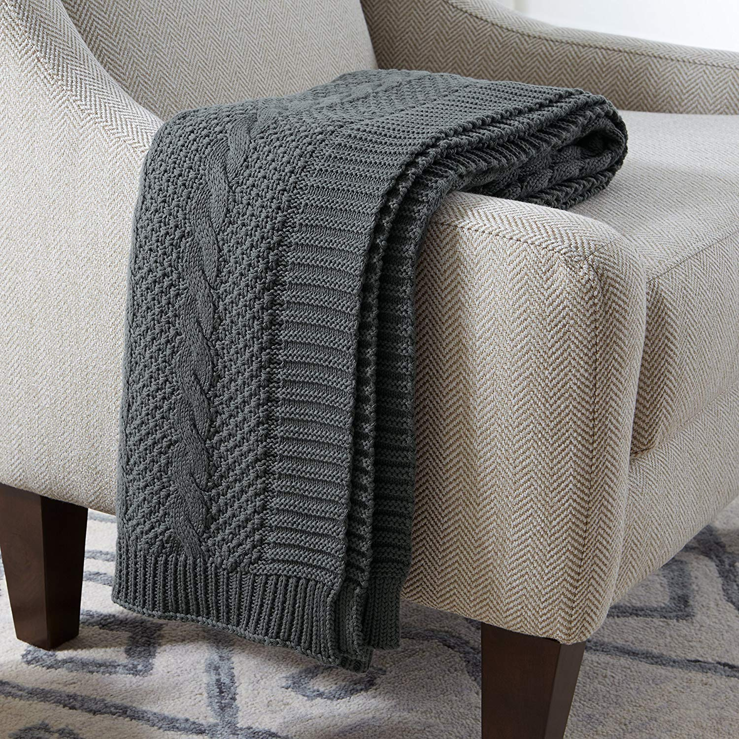 Stone & Beam Transitional Chunky Cable Knit Throw