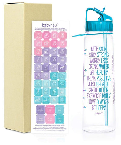 AQUANEÜ babyneü Pregnancy Gift Time Marked Water Bottle