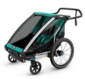 Thule Chariot Lite 2 Stroller and Trailer in Blue Grass and Black