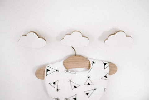 Wooden Cloud Nursery Hooks