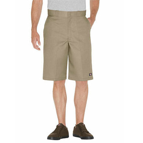 "13"" LOOSE FIT FLAT FRONT WORK SHORTS - KHAKI 