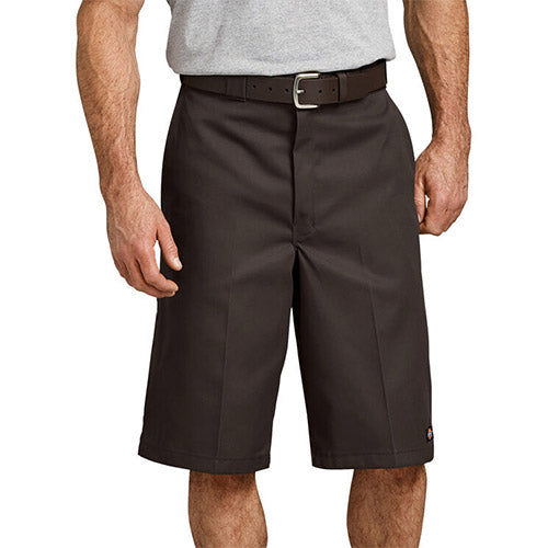 "13"" LOOSE FIT MULTI-USE POCKET WORK SHORTS - DK BROWN 