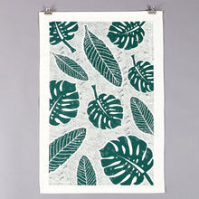 Load image into Gallery viewer, Studio Wald botanical leaf monstera print handmade cotton tea towel screen-printed in Yorkshire at Modern Craft