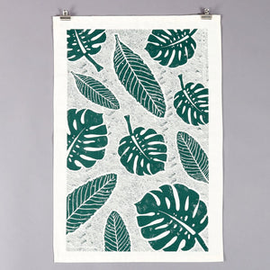 Studio Wald botanical leaf monstera print handmade cotton tea towel screen-printed in Yorkshire at Modern Craft