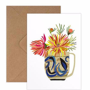 Dahlia still life with ceramic jug greetings card handmade in England by Brie Harrison for Modern Craft