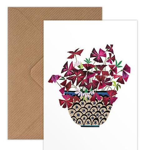 Brie Harrison oxalis purple clover greetings card Kraft envelope biodegradable cello wrap for Modern Craft