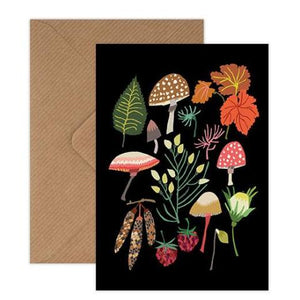 Brie Harrison mushrooms and moss foraging greetings card Kraft envelope biodegradable cello wrap for Modern Craft