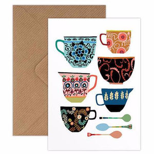 Folk painted ceramics collection greetings card handmade in England by Brie Harrison for Modern Craft