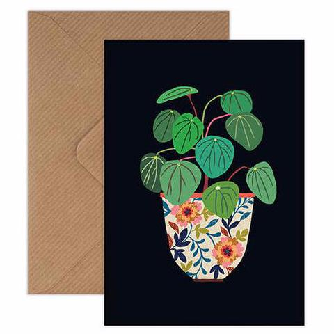 Pilea Chinese Money Plant still life with ceramic pot greetings card handmade in England by Brie Harrison for Modern Craft