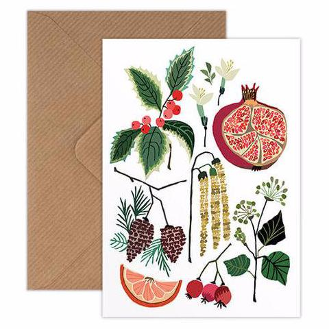 December Study winter holiday Christmas greetings card handmade in England by Brie Harrison for Modern Craft