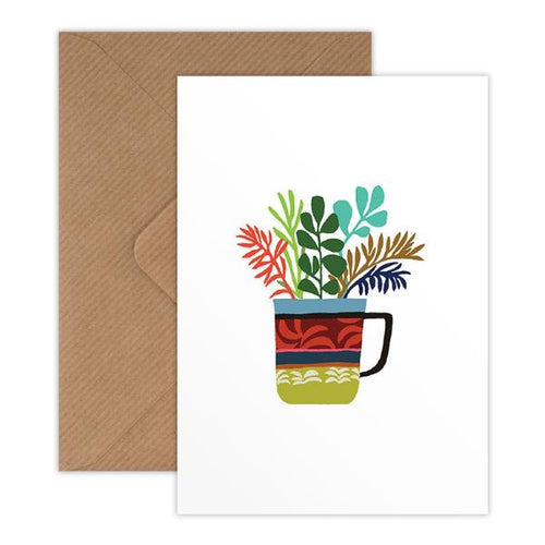 Brie Harrison fern and cup print mini greetings card with Kraft envelope for Modern Craft