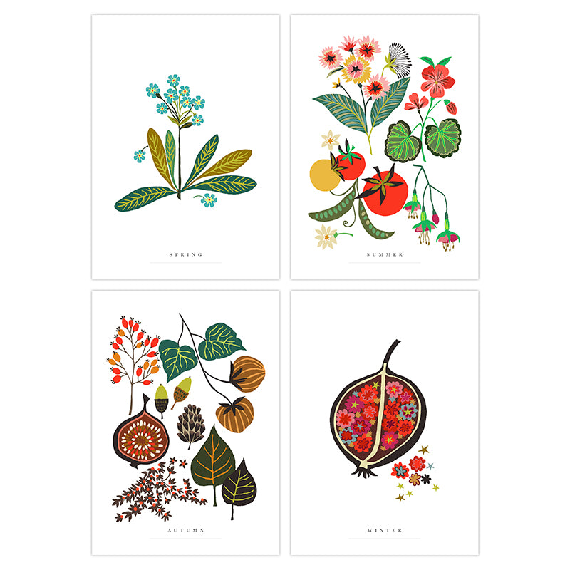 Brie Harrison seasons print art postcard pack made in England for Modern Craft
