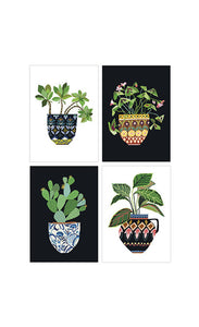 Brie Harrison house plant series art postcard pack. Handmade in the UK for Modern Craft