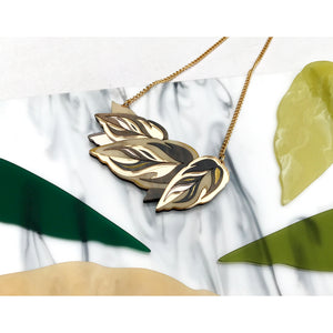 Rosa Pietsch acrylic resin jewellery calathea leaf gold chain for Modern Craft