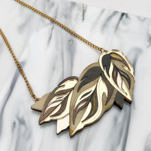 Load image into Gallery viewer, Rosa Pietsch acrylic resin jewellery calathea leaf gold chain for Modern Craft