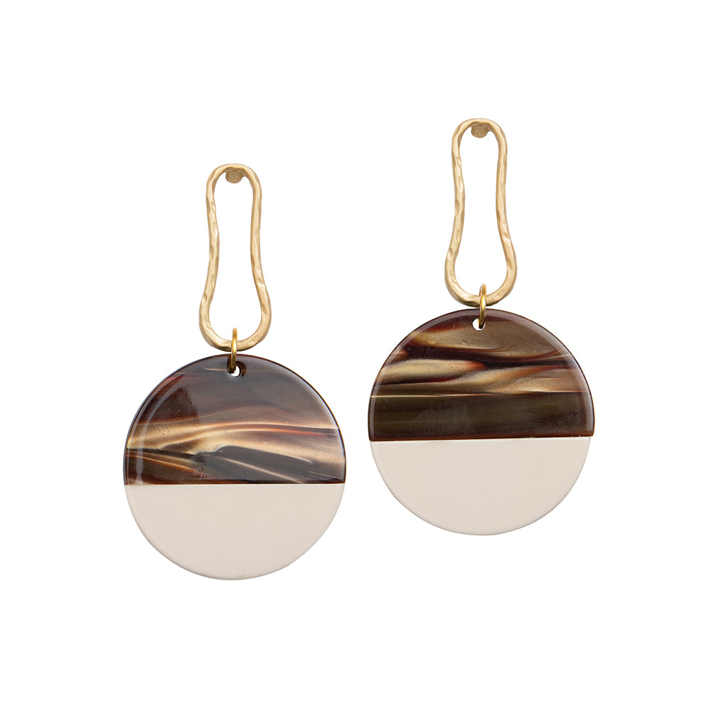 Weathered Penny resin and metal Margot statement earrings in rich, earth tones. Handmade in the UK for Modern Craft.