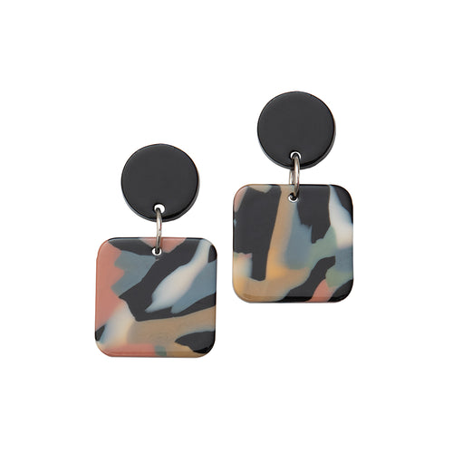 Weathered Penny resin Elodie earrings in mixed, watercolour-effect with a black stud. Handmade in the UK for Modern Craft.