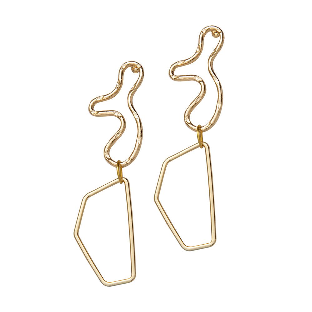 Weathered Penny Luna 18k gold plated earrings in irregular shapes. Handmade in the UK for Modern Craft.