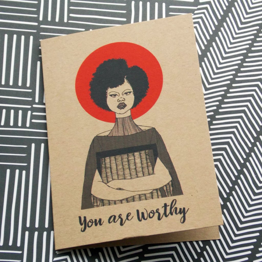 Dorcas Creates self care greetings card you are worthy for Modern Craft