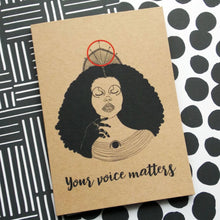 Load image into Gallery viewer, Dorcas Creates self care greetings card your voice matters for Modern Craft