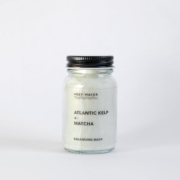 Holy Water Apothecary balancing face mask for combination skin. Hand made with atlantic kelp, matcha and organic essential oils. Made in Devon for Modern Craft.
