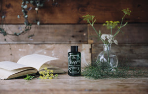 Concentrated, revitalising, magical bath potion from Magic Organic Apothecary. Organic and natural, containing essential oils of peppermint, fennel, fir needle, sweet birch and yarrow. Made in England for Modern Craft.
