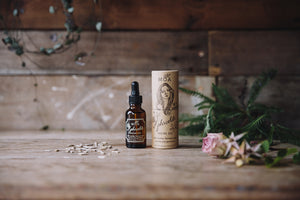 Aphrodite organic, natural facial oil with essential oils of rosehip, Damask rose, geranium, yarrow and marshmallow. Vegan, cruelty-free skincare made in England for Modern Craft.