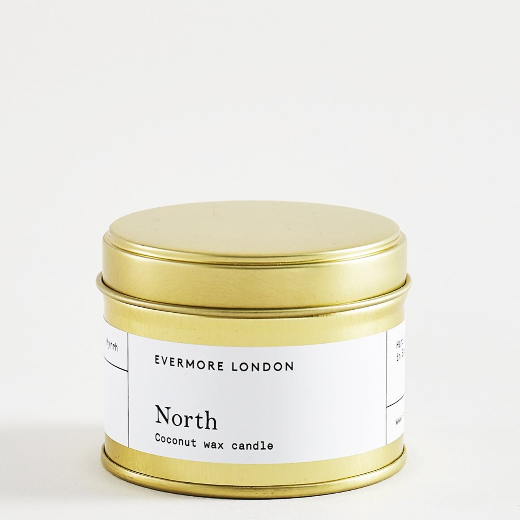 Evermore London north vegan scented candle patchouli frankincense myrrh soy coconut wax for Modern Craft