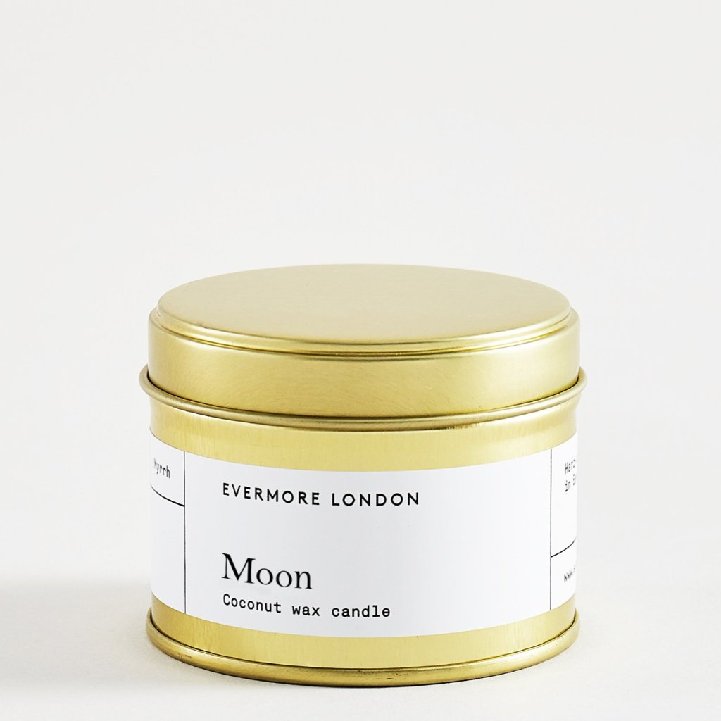 Evermore London moon rose geranium sage scented candle vegan soy coconut wax for Modern Craft