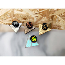 Load image into Gallery viewer, Rosa Pietsch iridescent bronze gold statement triangle studs resin mirror acrylic earrings for Modern Craft