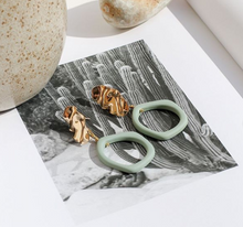 Load image into Gallery viewer, Weathered Penny resin Alexa earrings in Fern with gold stud. Handmade in the UK for Modern Craft.