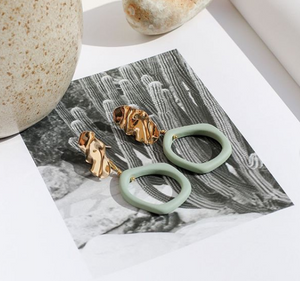Weathered Penny resin Alexa earrings in Fern with gold stud. Handmade in the UK for Modern Craft.