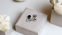 Load image into Gallery viewer, Weathered Penny resin Elodie earrings in mixed, watercolour-effect with a black stud. Handmade in the UK for Modern Craft.