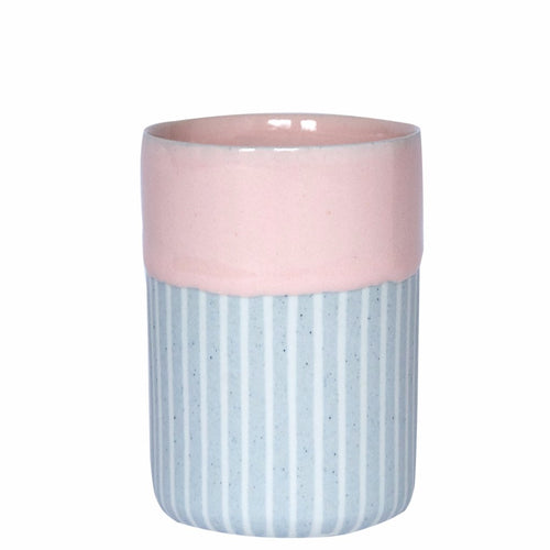 Duck Ceramics pink glazed porcelain vessel tumbler pot handmade in Brighton for Modern Craft