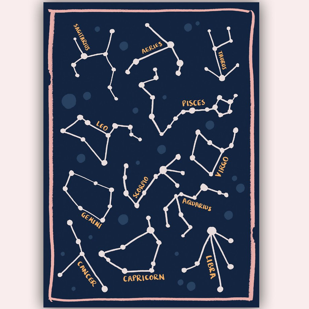 Hannah Roe Hanroe Makes constellation zodiac astrology A4 print handmade in England for Modern Craft