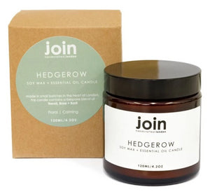 hedgerow vegan scented candle with essential oils. Handmade in London for Modern Craft