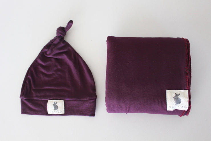 Wine Swaddle & Beanie Set - 'Magpie'