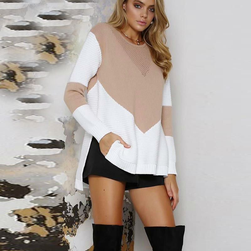 Colorblock High Low Hem Sweater