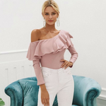 One Shoulder Ruffle Sweater