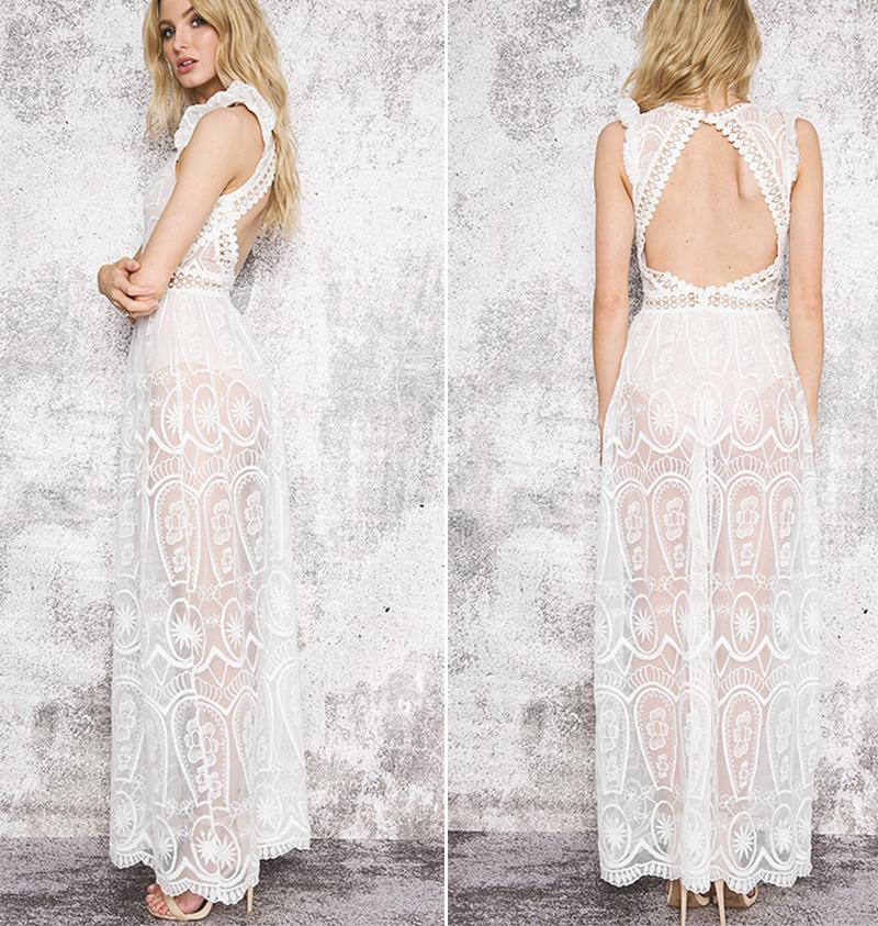 'Davina' Sheer Lace Maxi Dress