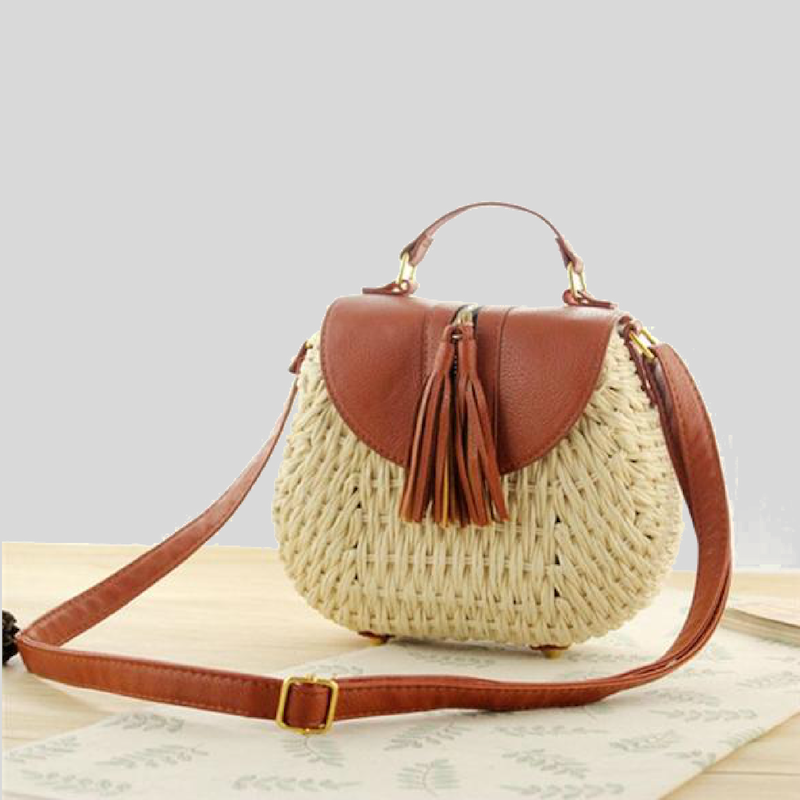 Cross-Body Straw Handbag